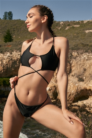 Black Self-Tie Front Detail Criss-Cross Back Top & High Leg Bottom Bikini Set