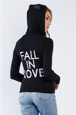 "Black Long Sleeve ""Fall In Love"" Zip Up Casual Hoodie"