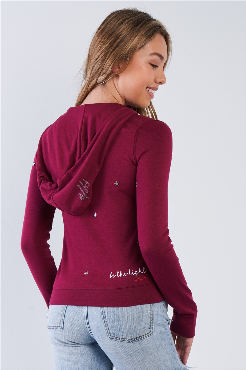 "Plum Long Sleeve ""Be The Light"" Star Studded Comfy Zip Up Hoodie"