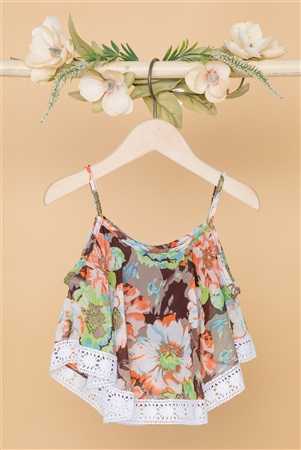 Girls Multi Brown Floral Print Cami Top
