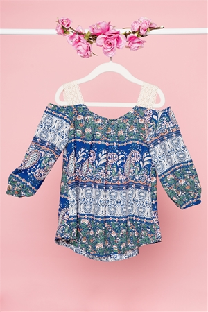 Girls Boho Multi Blue Cold Shoulder Crochet Detail Top