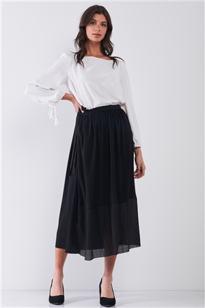 Jet Black Matted Effect Self-Tie Side Detail High Waist Mesh Bottom Hem A-Line Flare Midi Skirt /3-2-1