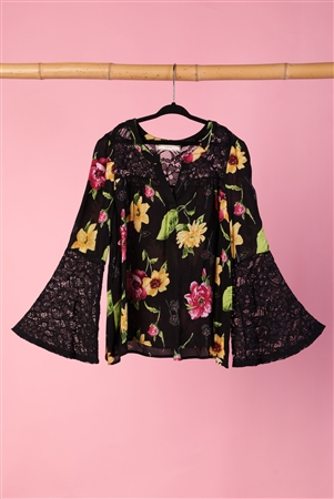 Girls Black Floral Lace Bell Sleeves Top