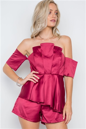Wine Layered Off-The-Shoulder Evening Romper