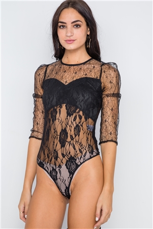 Black Floral Lace Combo Sheer Evening Bodysuit