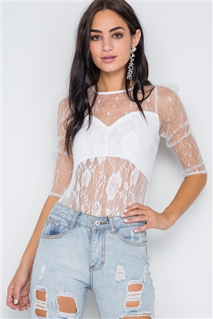 White Floral Lace Combo Sheer Evening Bodysuit