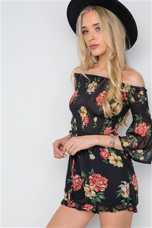 Black Smocked Floral Print Off-The-Shoulder Romper