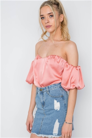 Peach Off-The-Shoulder Sweetheart Bodysuit