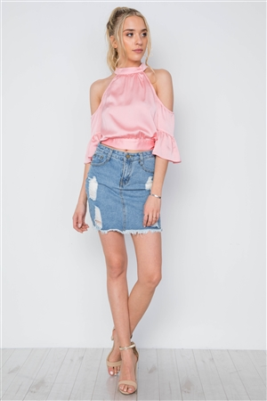 Pink Cold Shoulder Mock Neck Ruffle Sleeves Top