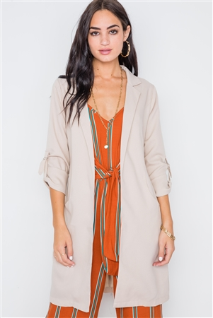 Sand Solid Long Sleeve Longline Jacket