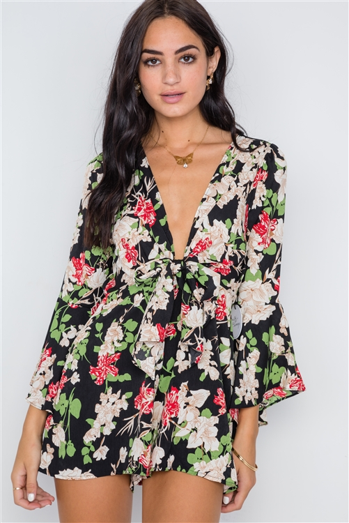 Black Floral Plunging Tie-Front Bell Sleeve Romper