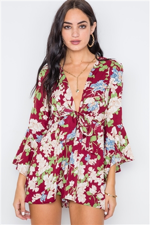 Wine Floral Plunging Tie-Front Bell Sleeve Romper