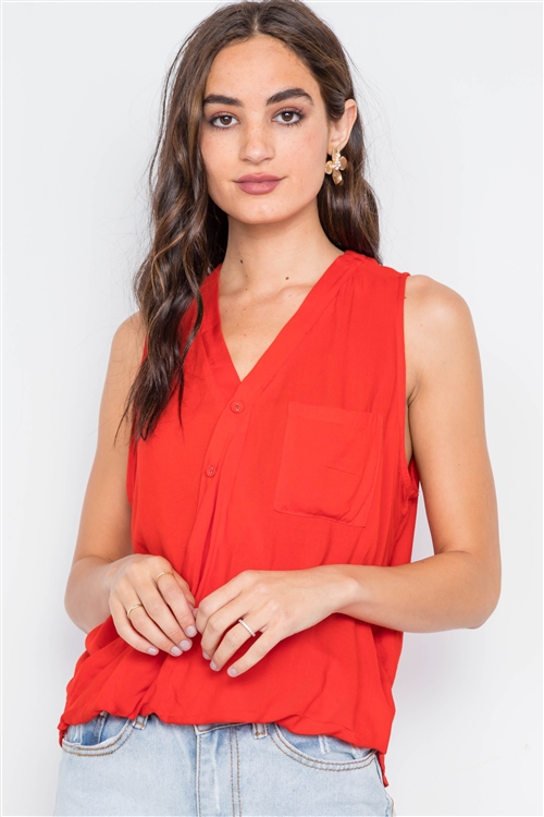 Tomato Surplice Neck Button Front Sleeveless Top