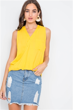 Yellow Surplice Neck Button Front Sleeveless Top