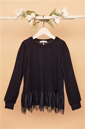 Girls Black Knit Long Sleeve Lace Hem Sweater