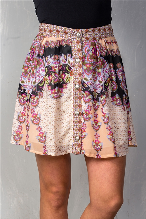 Rose & Floral Button Down Flared Chiffon Mini Skirt