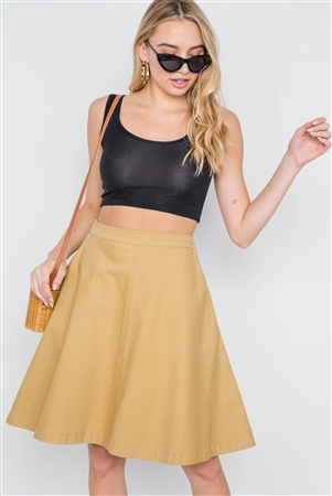 Khaki High Waist Solid Midi Skirt