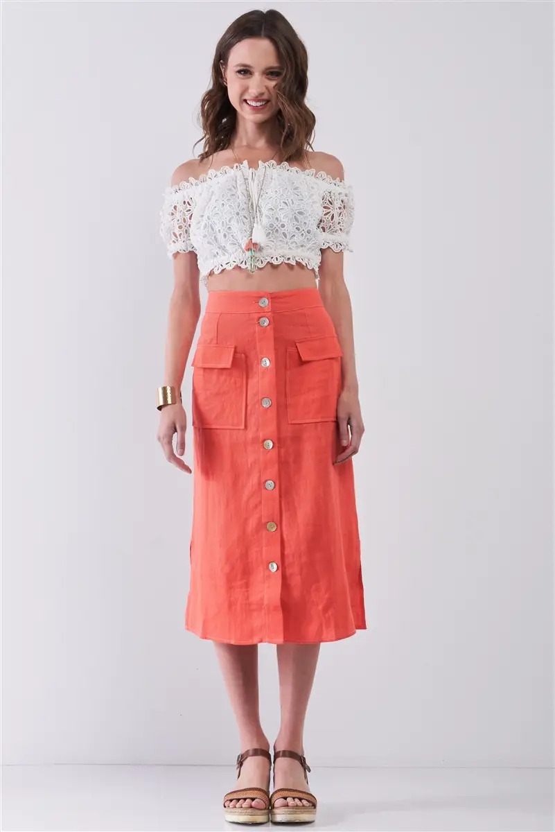Santorini Coral Linen High Waist Rainbow Pearl Buttons Detail Two Front Pockets Midi Skirt