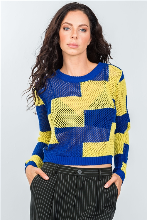 Blue Lime Color-Block Knitted Mesh Top