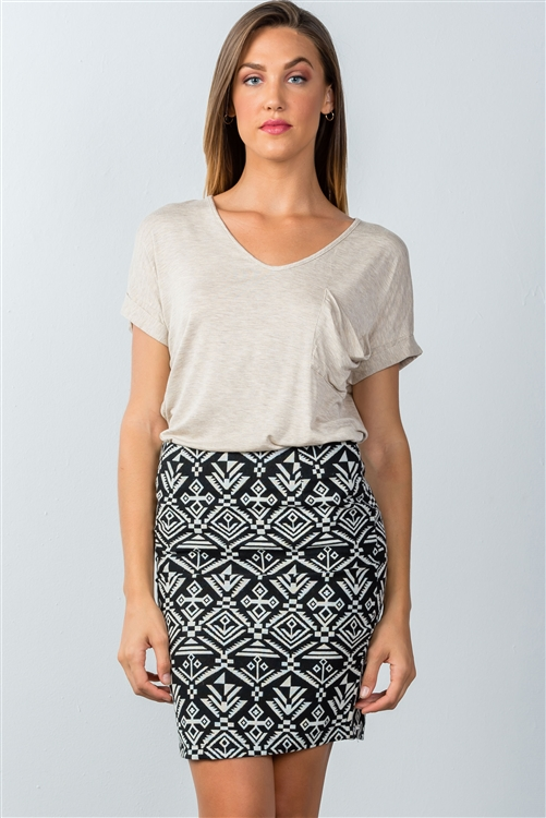 Black and Ivory Geometric Mini Skirt