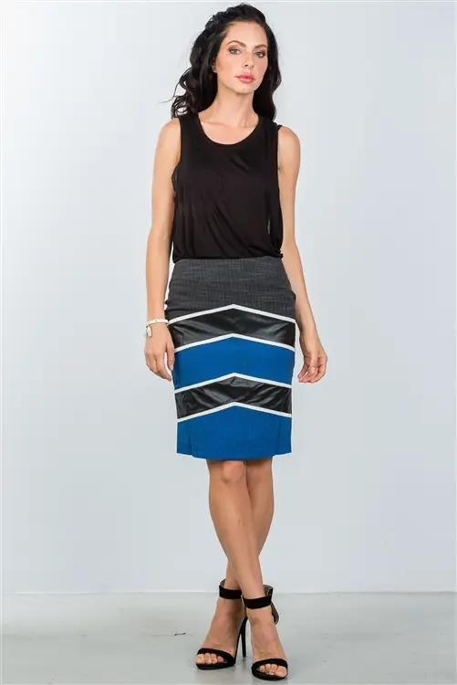 Blue Color-Block Pencil Skirt