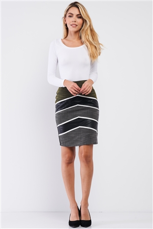 Yellow Color-Block Pencil Skirt