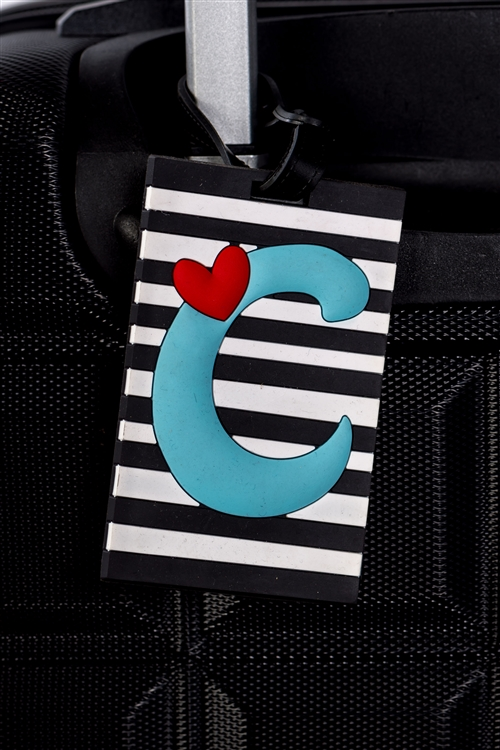 Stripe Luggage Tag Initial (C)