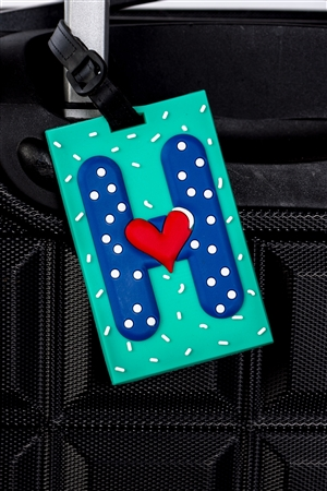 Turquoise Luggage Tag Initial (H)