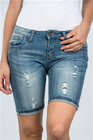 Light Denim Distressed Bermuda Shorts