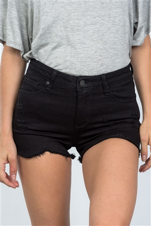 Black Distressed High Waisted Short