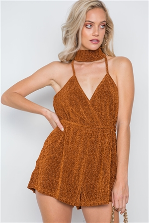 Rust Mock Neck Cami Evening Romper