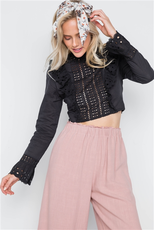 Black Ruffle Embroidery Mock-Neck Crop Top