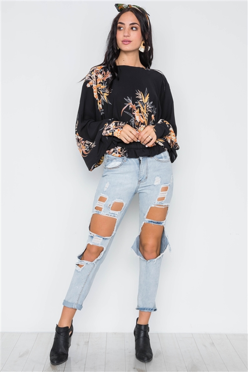 Black Tropical Floral Print Batwing Top