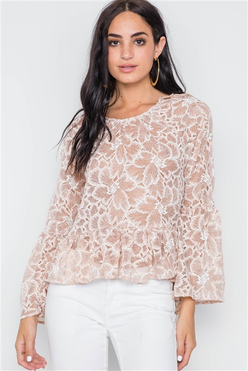 Mocha Sheer Floral Lace Bell Sleeve Top