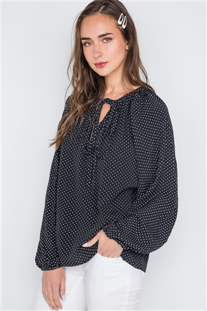 Polka Dot Black White Long Sleeve Self Tie Top