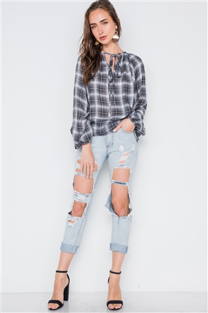 Plaid Black White Long Sleeve Self Tie Top