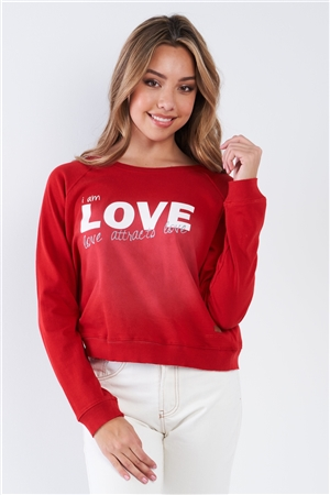 "Samba Red ""I Am Love, Love Attracts Love"" Long Sleeve Crew Neck Top"