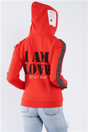 "Apple Red ""I Am Love, All Of Me"" Long Sleeve Hoodie"