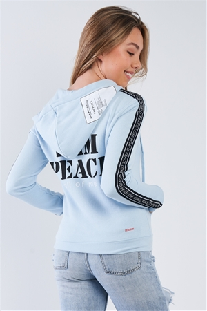 "Baby Blue ""I Am Peace, All Of Me"" Long Sleeve Hoodie"