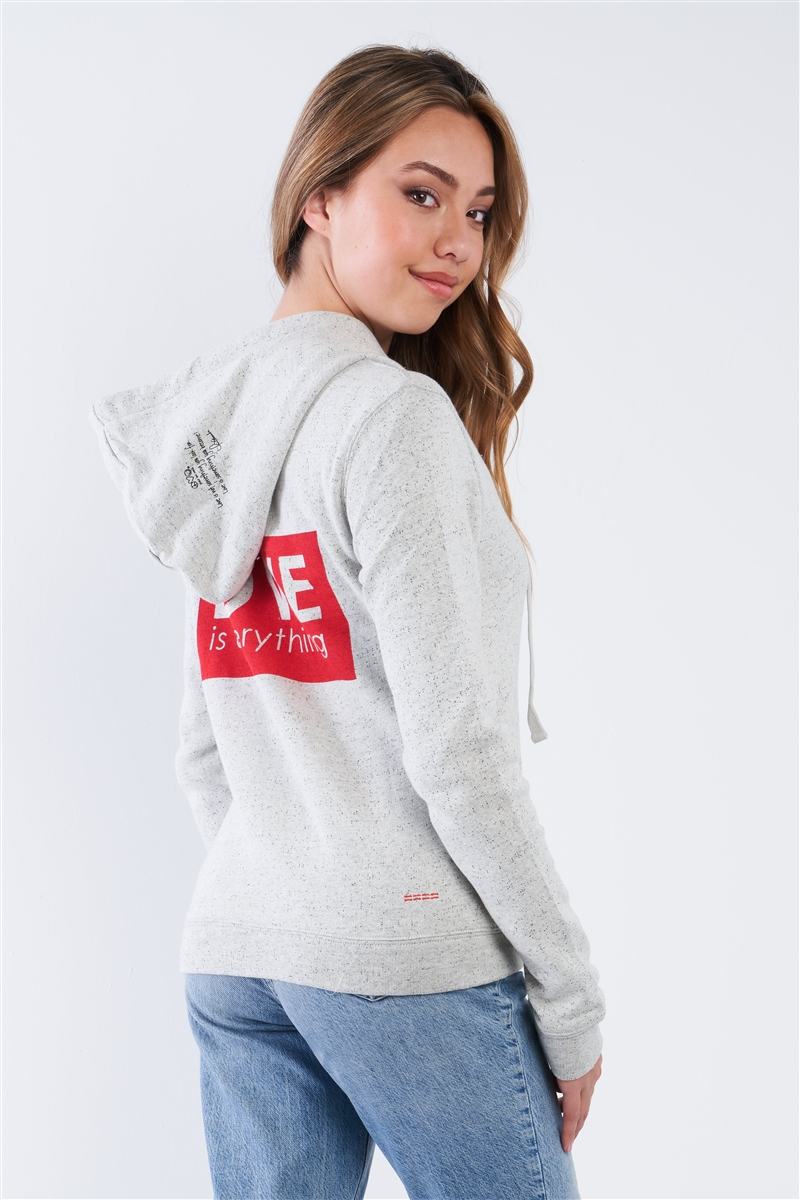 "Heather Grey Long Sleeve ""Love Is Everything"" Zip Up Hoodie"