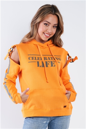 "Orange Long Sleeve Adjustable Buckle Cold Shoulder ""Celebrating Life"" Hoodie"