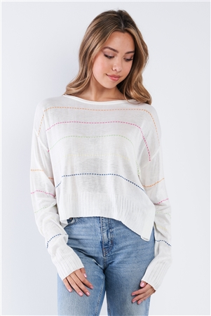 Natural Colorblock Scoop Neck Long Sleeve Knit Sweater