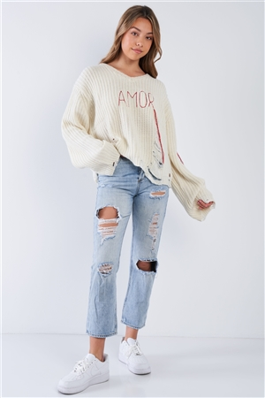 "Natural ""Amor"" V-Neck Distressed Dolman Sleeve Knit Sweater"