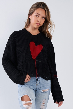 Black Over Size Fit Embroidered Heart Distressed Sweater