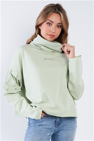 "Mint Turtleneck Lace Up Batwing Sleeve ""GRATEFUL"" Loose Fit Sweater"