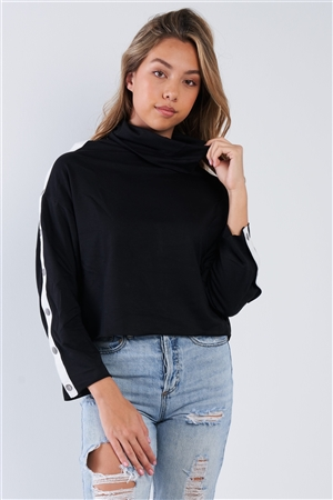 Black Long Sleeve Turtle Neck Shoulder Snap Detail Top