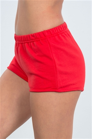 Red Curved Hem Active Shorts