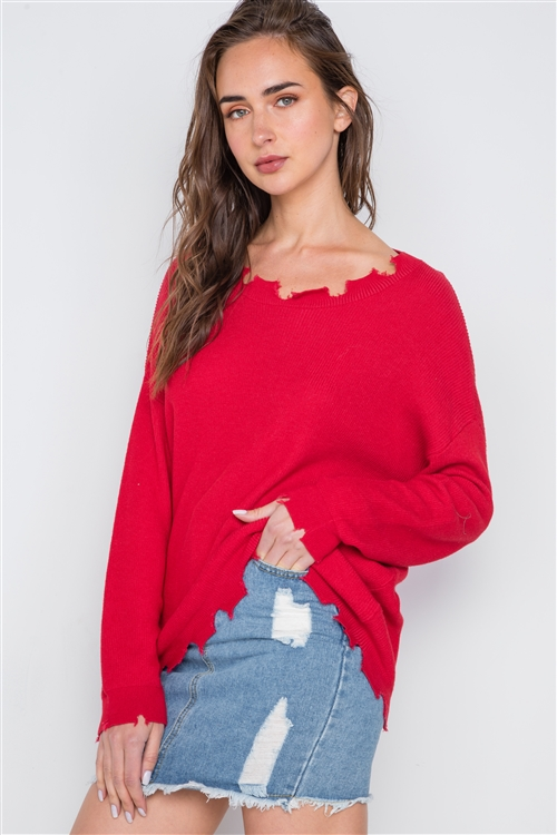 Tomato Red Distressed Pullover