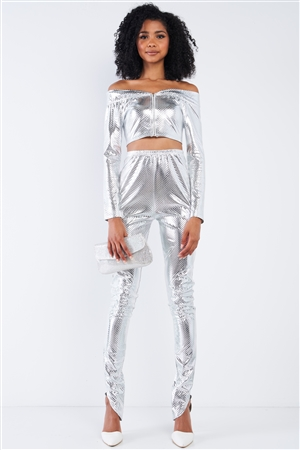 Metallic Silver Small Scales Print Long Sleeve Off-The-Shoulder Cropped Top And High Waist Slim Fit Legging Set /3-2-1