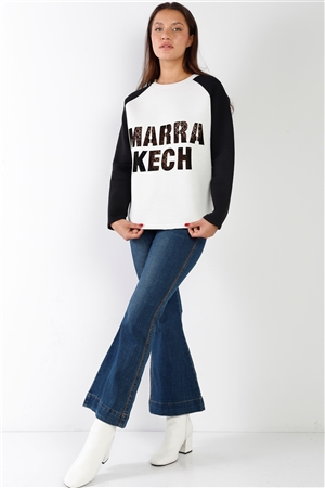 White Contrast Sleeve Curved Hem Sweater